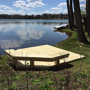 new deck on a lake
